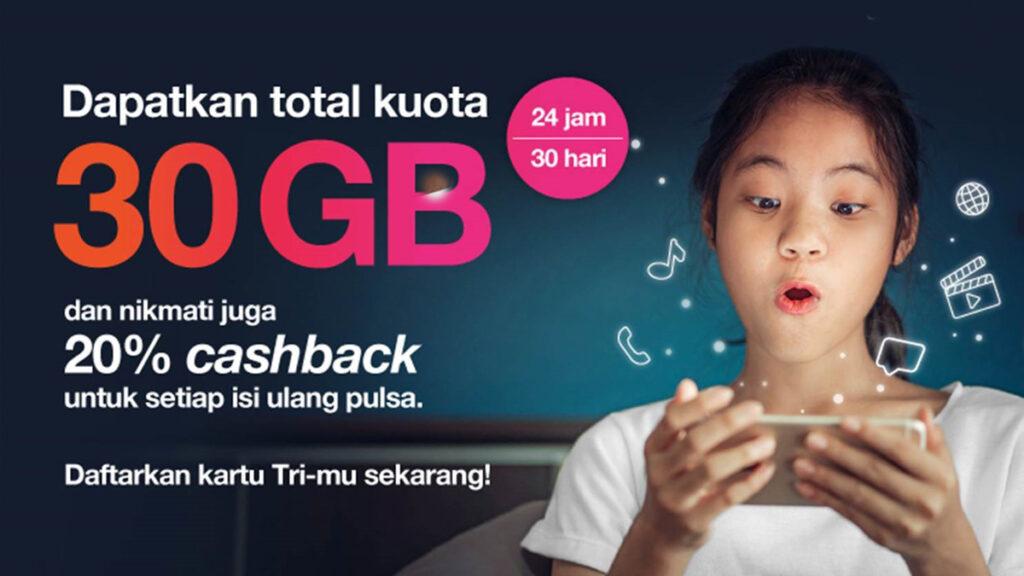 3 Indonesia Kuota 30GB untuk Pembelajaran Jarak Jauh